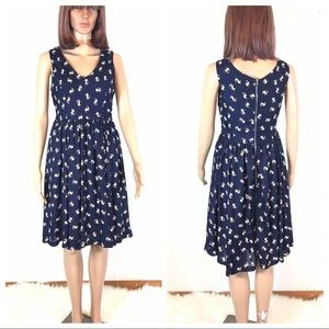 Everly Pug Print Blue Fit Flare Dress
